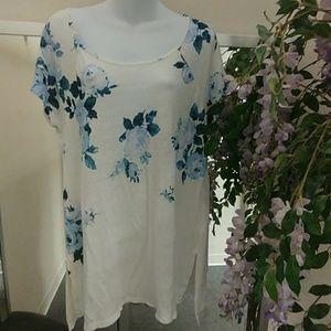 Lucky Brand Floral Linen Tunic Top